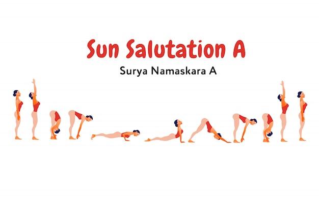 Vrouw beoefenen zonnegroet (surya namaskar). infographics ontwerp voor yogastudio. internationale yogadag Premium Vector