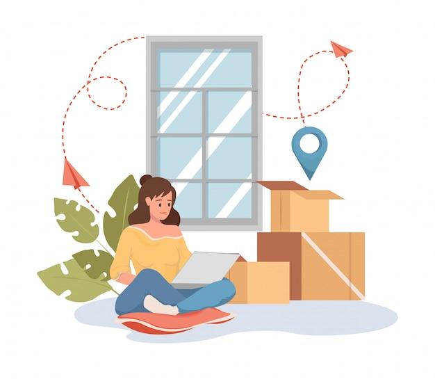 Vrouw bestelling op laptop platte cartoon afbeelding. vrachtvervoer, verhuisservice. Premium Vector