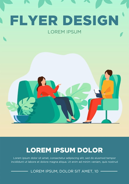 Vrouw bezoekende psycholoog kantoor. patiënt zittend in een stoel en praten met psychiater. vectorillustratie voor therapiesessie, sjabloon voor psychotherapie, counseling en flyer Gratis Vector