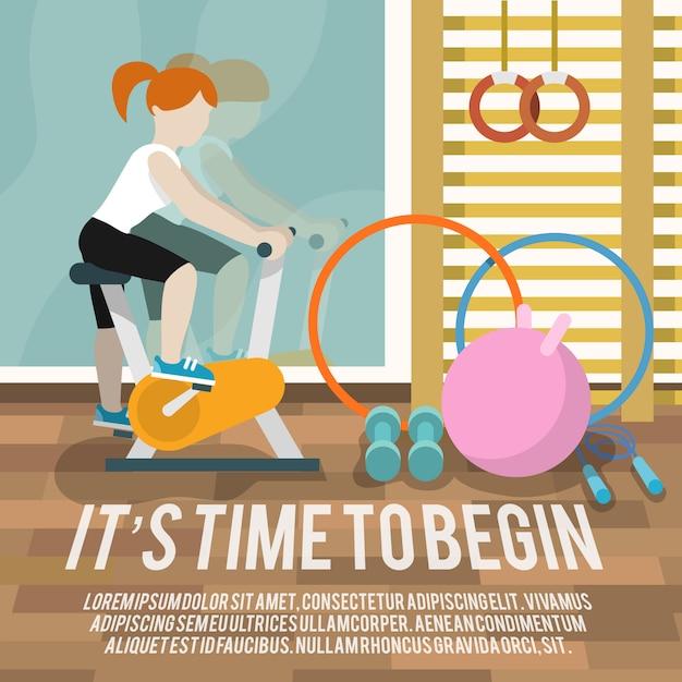 Vrouw bij gymnasium fitness poster Gratis Vector