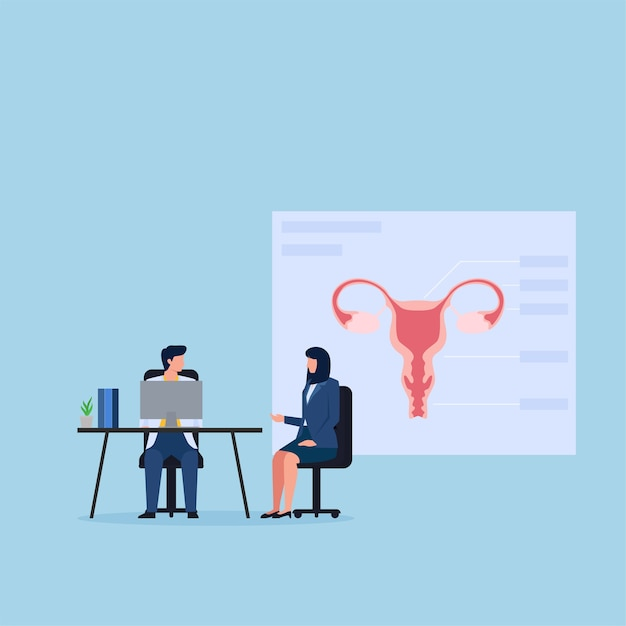 Vrouw bij kliniek raadplegen over gynaecologie. Premium Vector