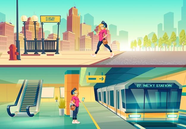 Vrouw bij metrostation. Gratis Vector