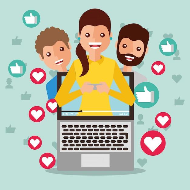 Vrouw blogger op het scherm virale inhoud mensen volgelingen houden van liefde Premium Vector
