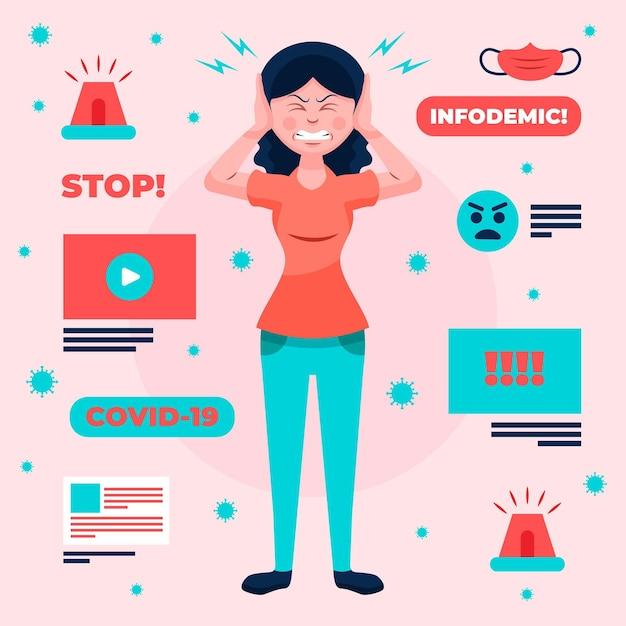 Vrouw boos over het infodemische concept Premium Vector
