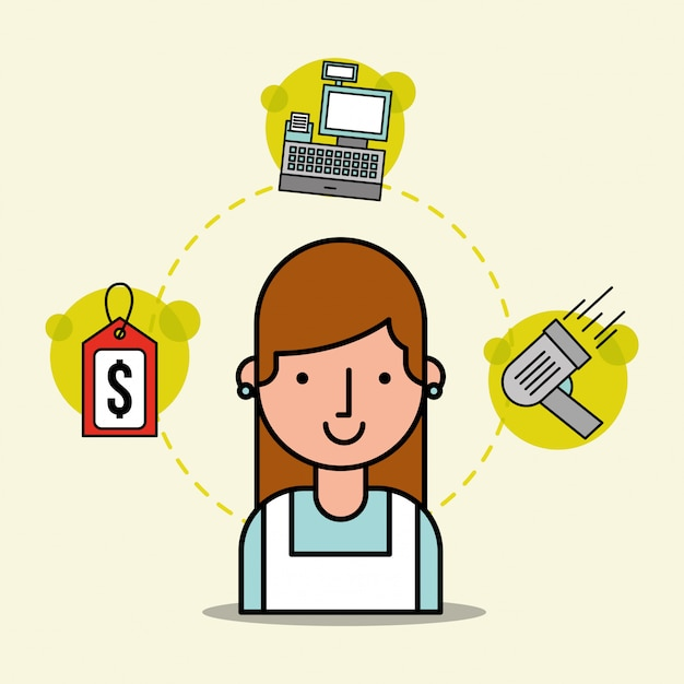 Vrouw cartoon werknemer supermarkt tag prijs kassa en scanner Gratis Vector