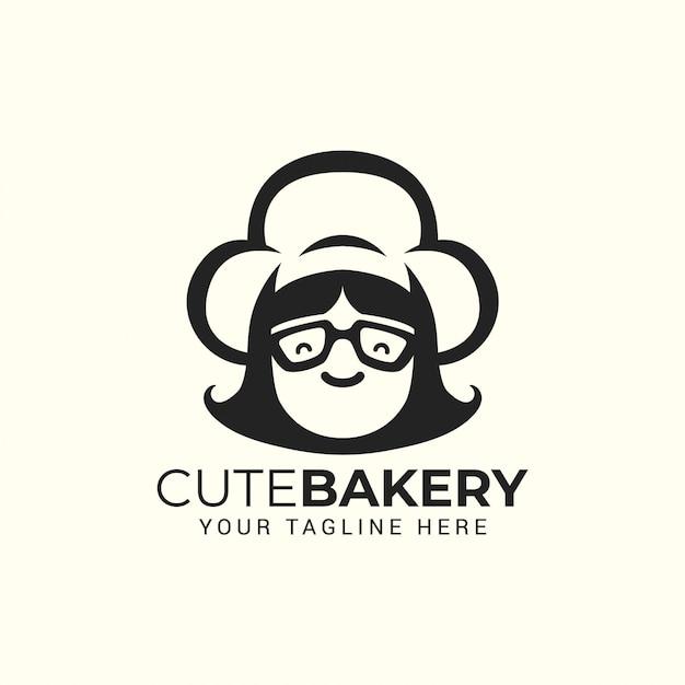 Vrouw chef-kok met hoed. logo voor restaurant, café, banketbakkerij Premium Vector