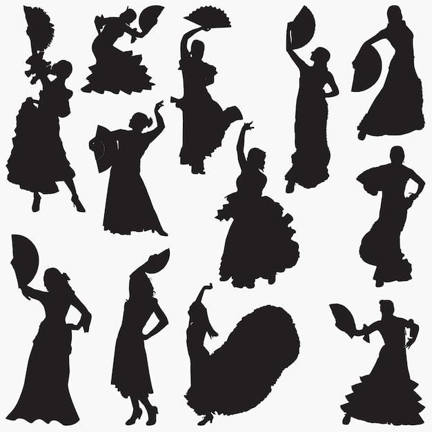 Vrouw dansen flamenco silhouetten Premium Vector