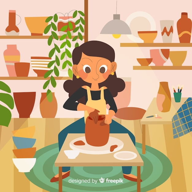 Vrouw die aardewerk maakt bij haar thuis Gratis Vector