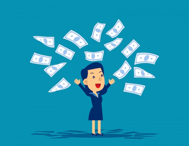 Vrouw die bankbiljetten in verrukking werpt Premium Vector