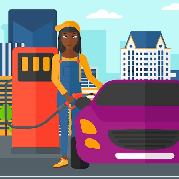 Vrouw die brandstof opvult in auto. Premium Vector