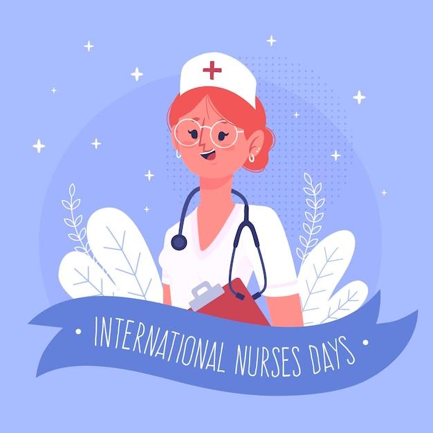 Vrouw die dag van stethoscoop de internationale verpleegsters dragen Gratis Vector