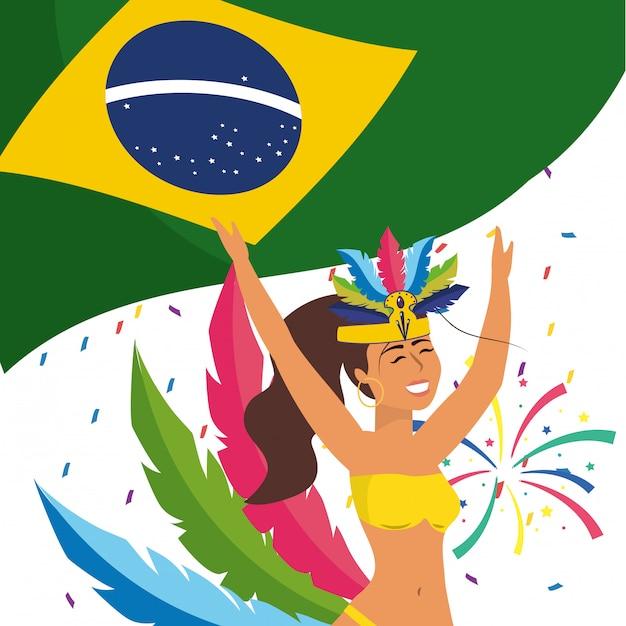 Vrouw die de vectorillustratie van carnaval van brazilië vieren Premium Vector