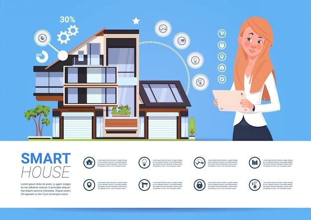 Vrouw die digitale tablet met smart home management system interface concept Premium Vector