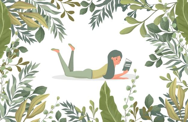 Vrouw die een boek leest, omringd door groene bladeren vlakke afbeelding. floral grenskader sjabloon. Premium Vector
