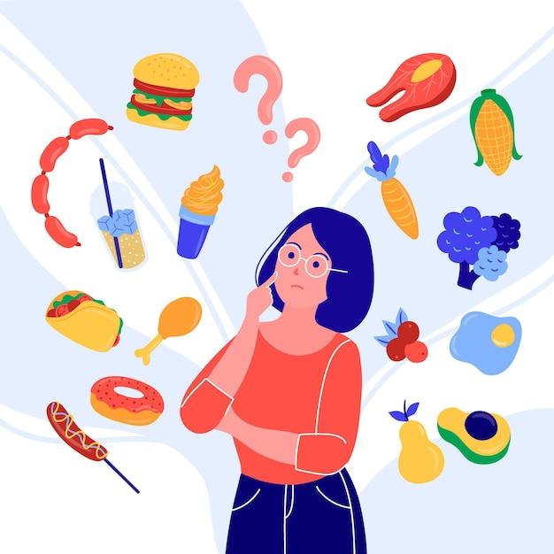 Vrouw die een categorie voedsel probeert te kiezen Gratis Vector