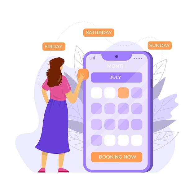 Vrouw die haar boeking van de data afspraak kiest Gratis Vector