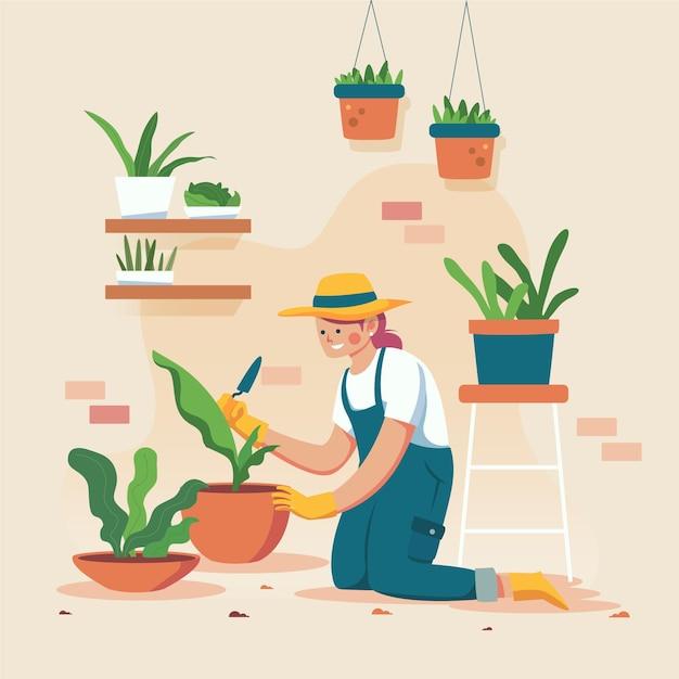 Vrouw die handschoenen draagt en haar installaties tuiniert Gratis Vector