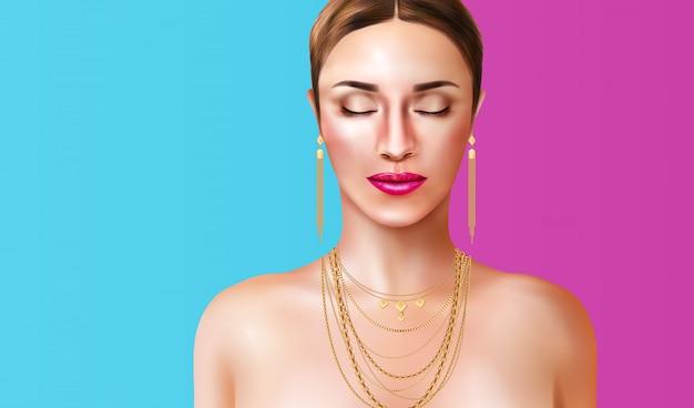 Vrouw die juwelentoebehoren op blauwe en roze realistische illustratie dragen als achtergrond Gratis Vector
