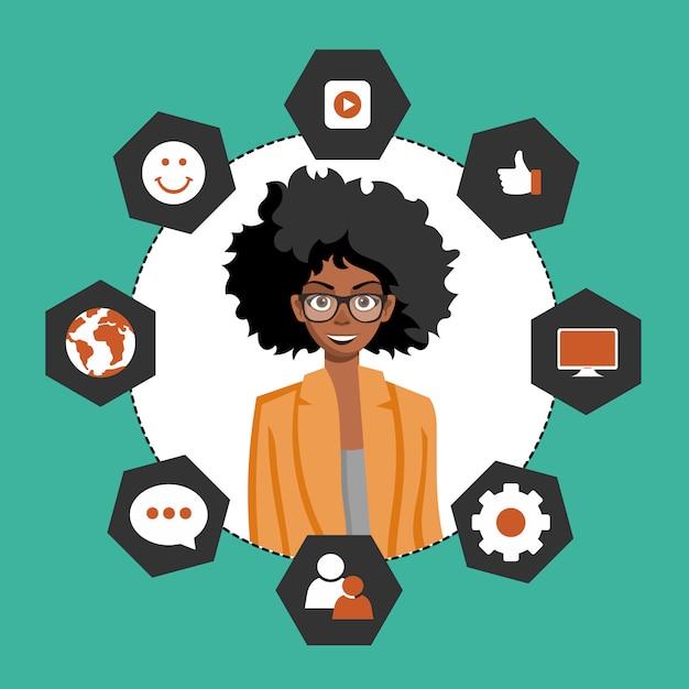 Vrouw die klantrelatiebeheer voorstelt Premium Vector
