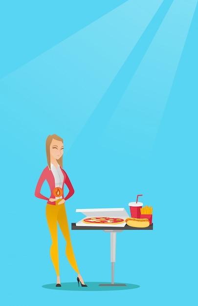 Vrouw die lijdt aan brandend maagzuur Premium Vector