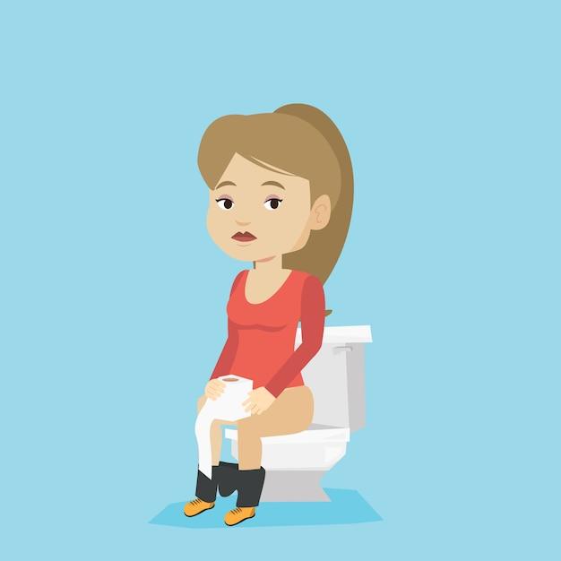 Vrouw die lijdt aan diarree of obstipatie. Premium Vector