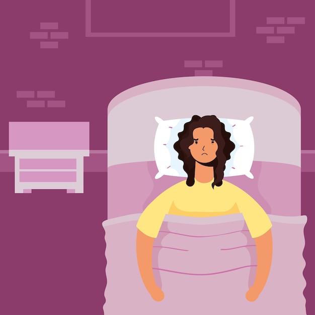 Vrouw die lijdt aan slapeloosheid karakter illustratie Premium Vector