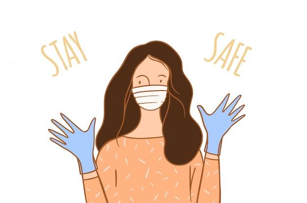 Vrouw die medische masc handschoenen, illustratie draagt. Premium Vector