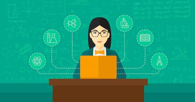 Vrouw die met laptop bestudeert Premium Vector