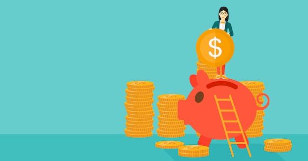 Vrouw die muntstuk in spaarvarken zet. Premium Vector