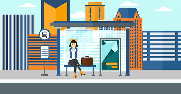 Vrouw die op bus wacht Premium Vector