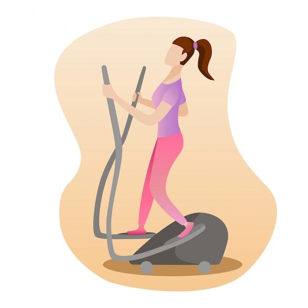 Vrouw die op elliptische machine loopt Premium Vector