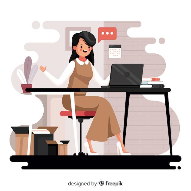 Vrouw die op het kantoor werkt Gratis Vector