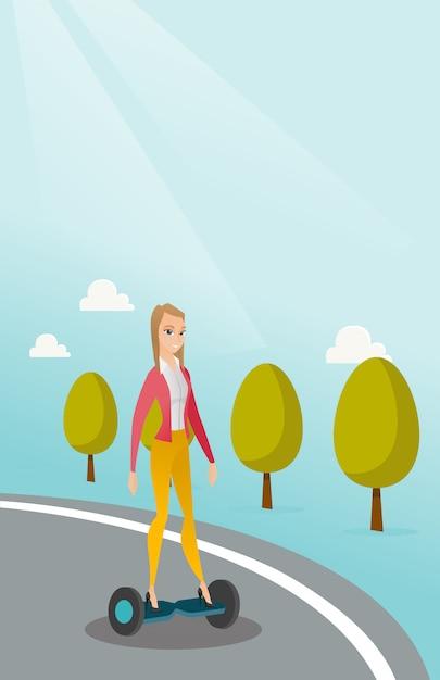 Vrouw die op zelf-in evenwicht brengt elektrische autoped berijdt Premium Vector