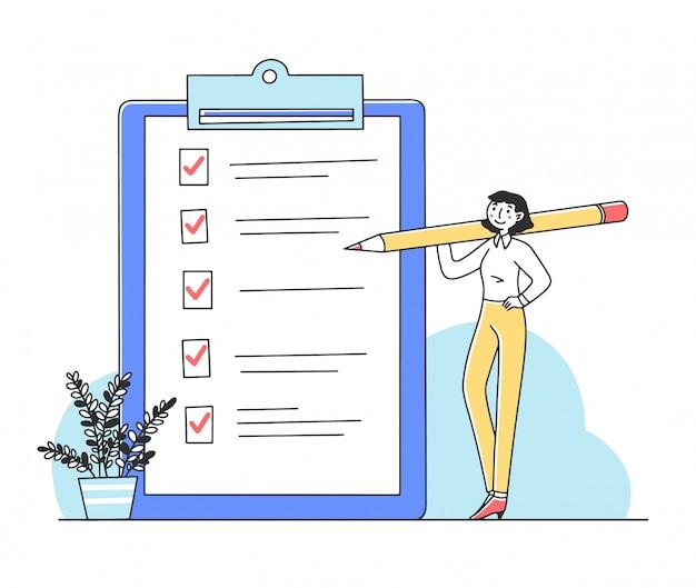 Vrouw die taken op controlelijstillustratie tikken Premium Vector