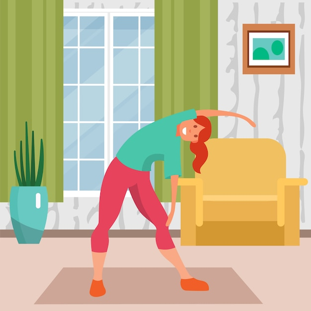 Vrouw die thuis, illustratie opleiden. meisje karakter fitnesstraining, levensstijl activiteit en oefening, jong lichaam. Premium Vector