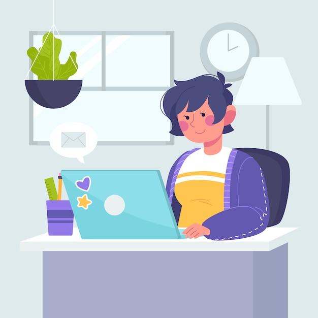 Vrouw die thuis werkt Gratis Vector