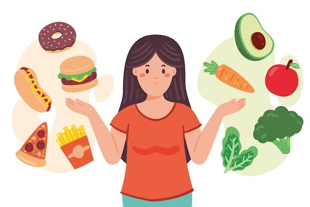 Vrouw die tussen gezonde of ongezonde voedselillustratie kiest Gratis Vector