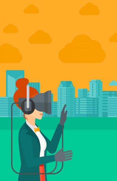Vrouw die virtuele werkelijkheidshoofdtelefoon draagt Premium Vector