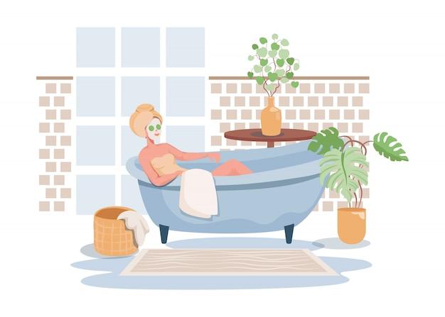 Vrouw die voor zichzelf vlakke illustratie zorgen. badtijd, spa-procedure in salon, hotel of thuis. Premium Vector