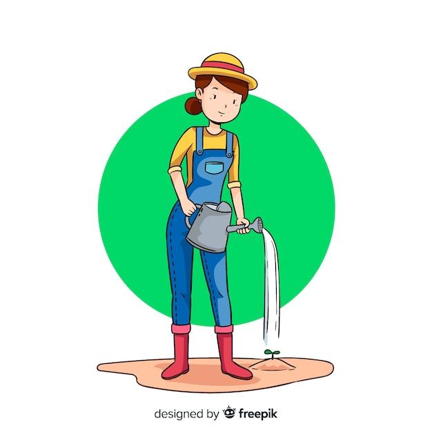 Vrouw die wat water op een installatie zet Gratis Vector