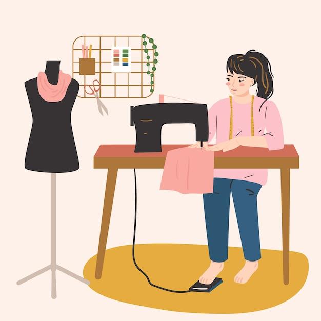 Vrouw die werkt met een naaimachine. vrouwelijke hobby, activiteit, beroep. creativiteit thuis concept. Premium Vector