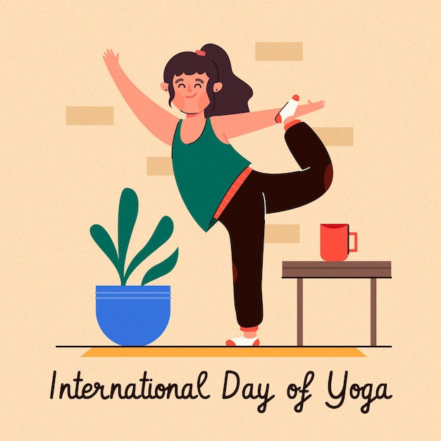 Vrouw die yoga thuis doet Gratis Vector
