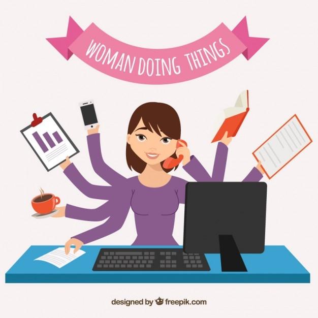 Vrouw doet dingen Gratis Vector