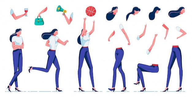 Vrouw doet verschillende activiteiten, vrije tijd plat. Premium Vector
