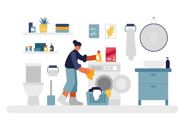 Vrouw doet was illustratie. vrouwelijke personage stopt dingen in de wasmachine en giet vloeibaar wasmiddel. gezellige badkamer met toilet en planken ronde spiegel boven nachtkastje vector plat. Premium Vector