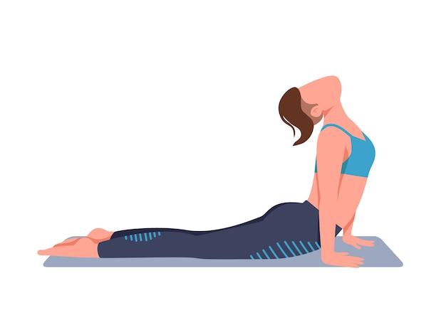 Vrouw doet yoga thuis egale kleur anonieme karakter Premium Vector