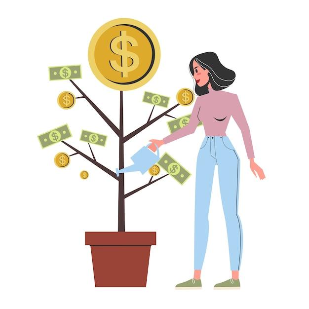 Vrouw drenken de geldboom groeien in een pot Premium Vector