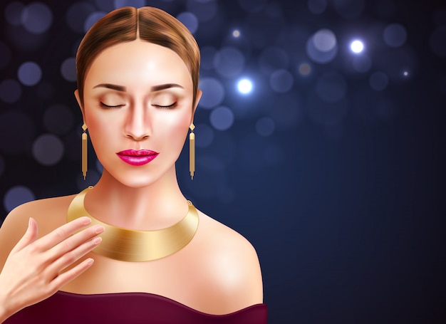Vrouw en juwelentoebehoren met gouden oorringen en halsband realistische illustratie Gratis Vector