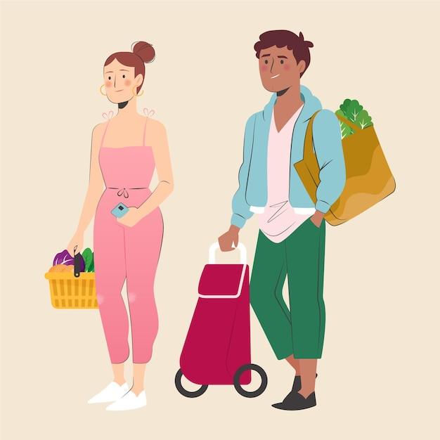 Vrouw en man boodschappen doen Gratis Vector