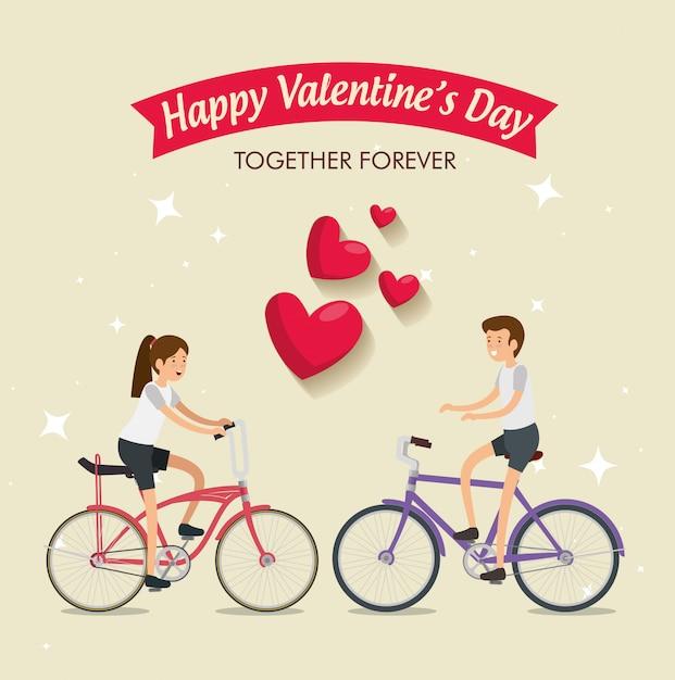 Vrouw en man die een fiets in de dag van de valentijnskaart berijden Gratis Vector